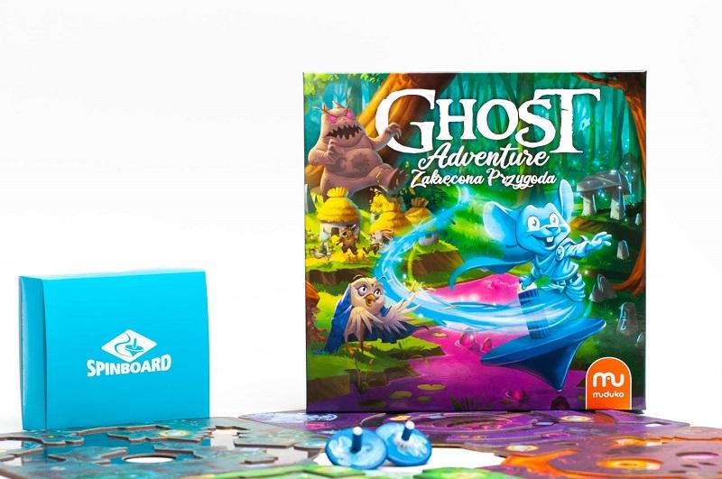 Pudełko i zawartość gry planszowej Ghost Adventure