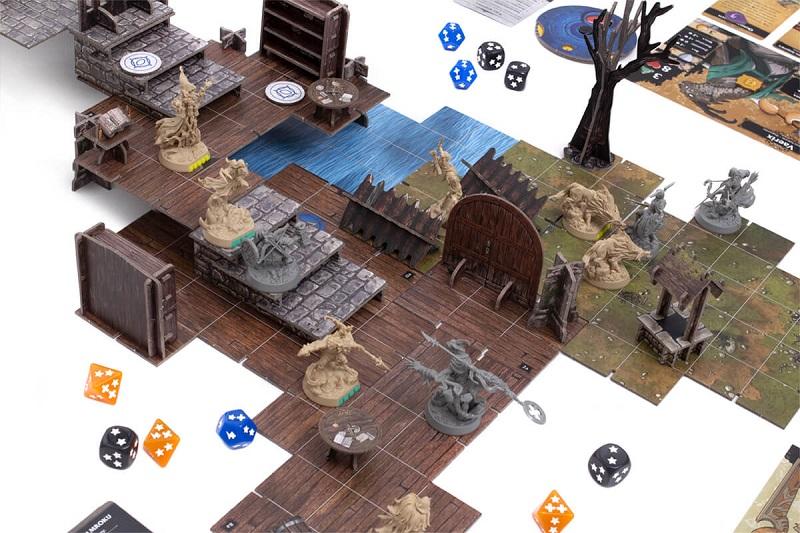 Plansza i figurki z gry planszowej Descent: Legendy Mroku