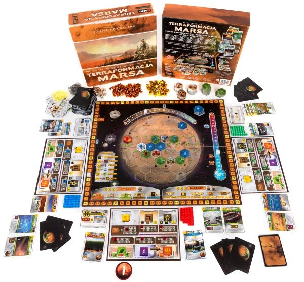 Pudełko i plansza gry ekonomicznej Terraformacja Marsa