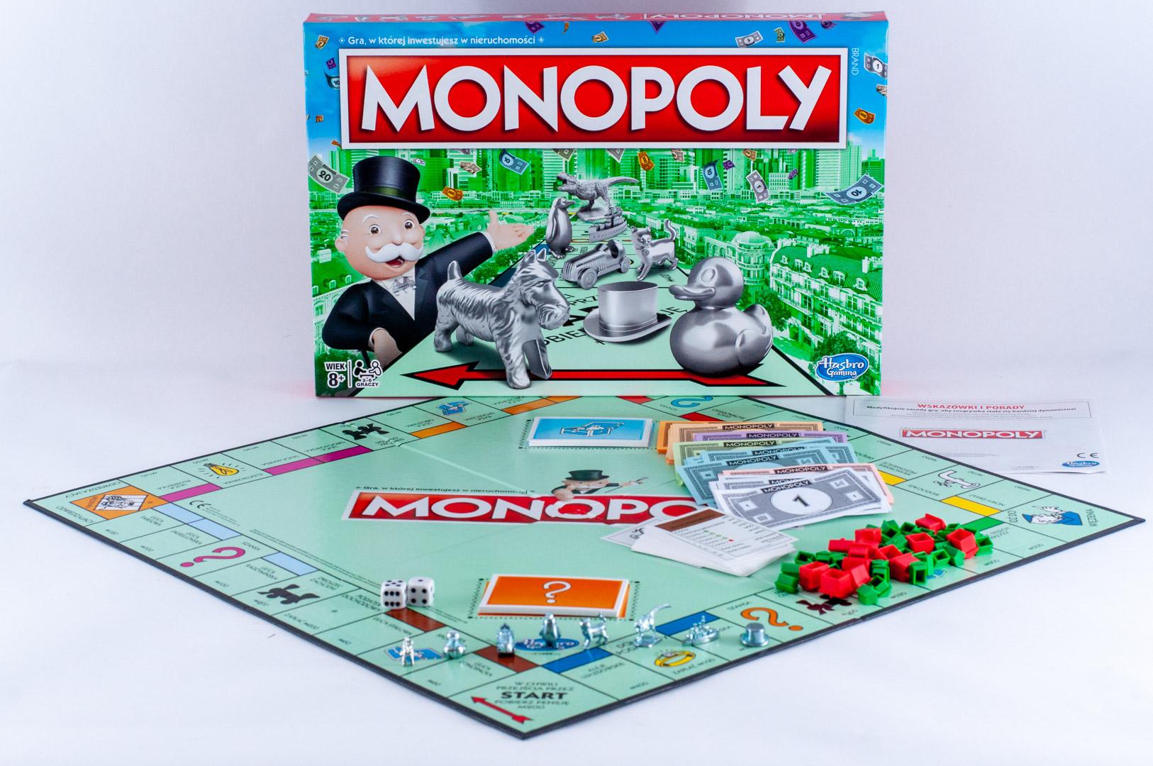 Pionki i plansza gry planszowej Monopoly Classic