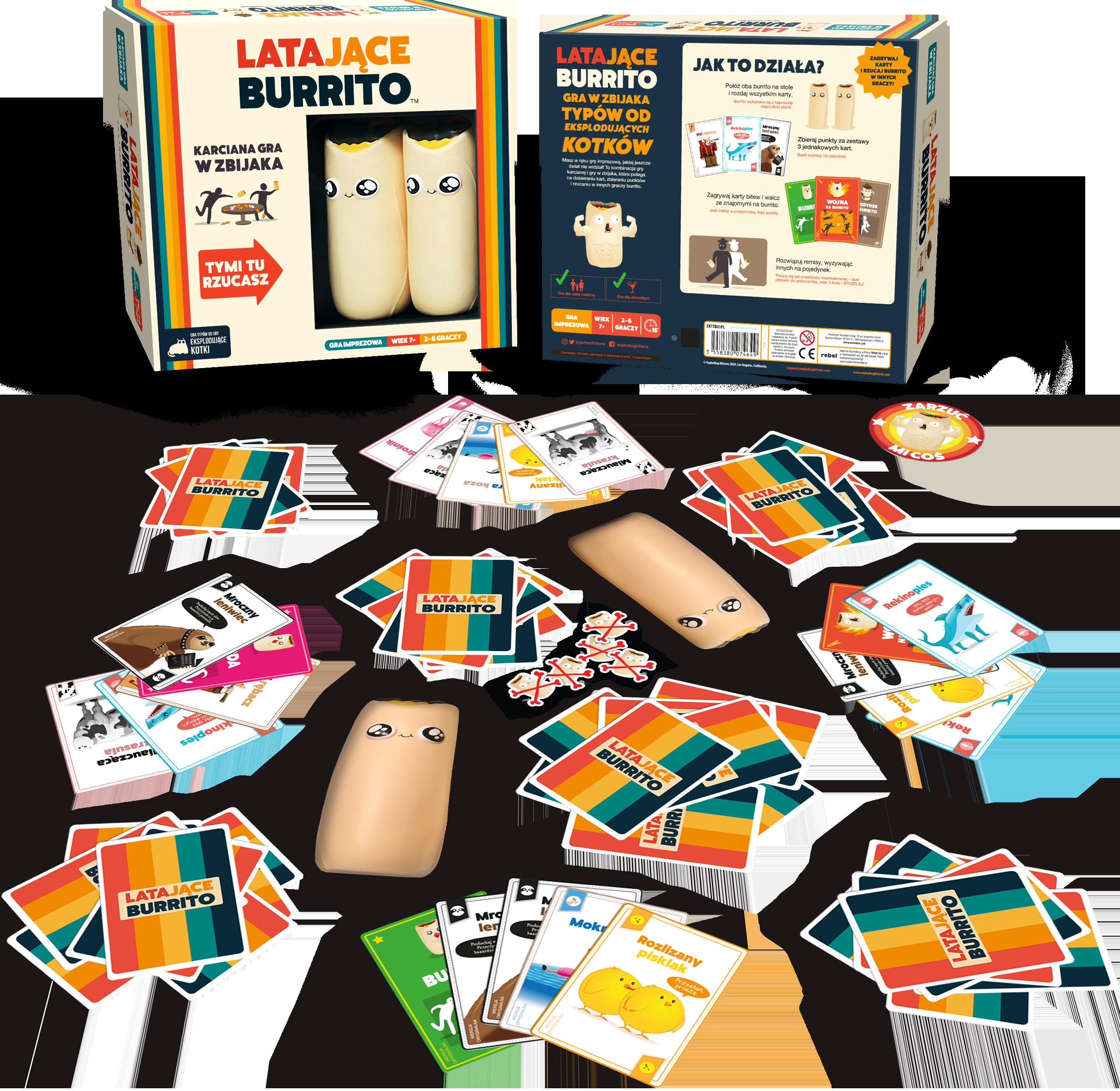 Pudełko i zawartość gry planszowej Latające Burrito