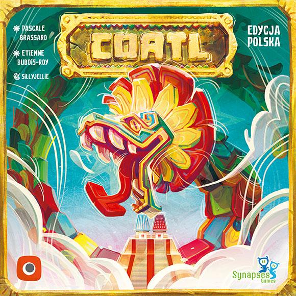 Pudełko i okładka gry planszowej Coatl