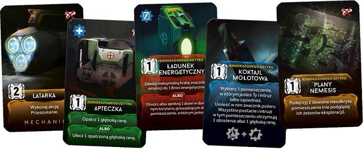 Karty akcji z gry planszowej Nemesis