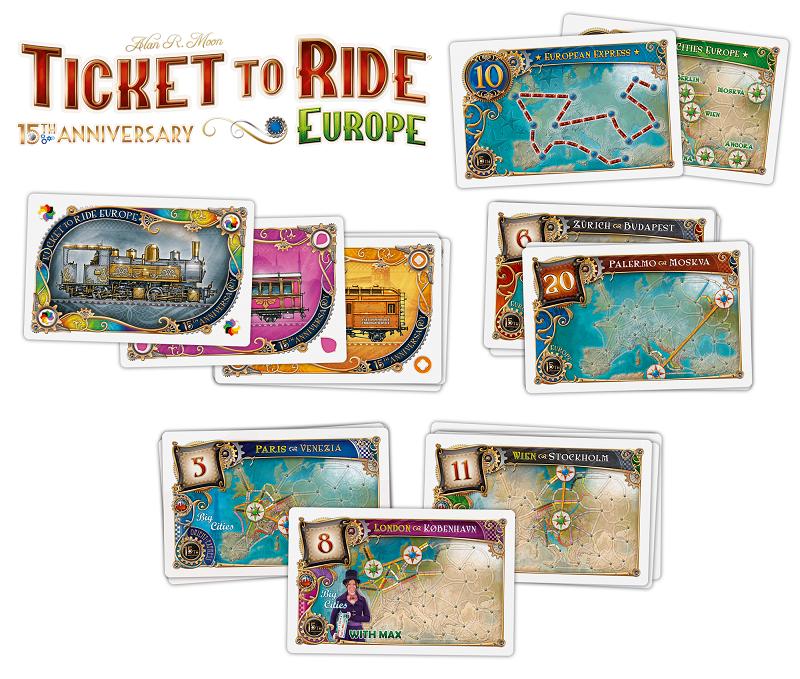 Karty z gry planszowej wsiąść do pociągu europa 15 rocznica