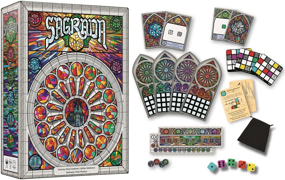 Zawartość gry planszowej Sagrada