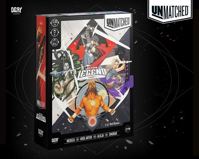 Grafika promocyjna i okładka gry figurkowej Unmatched pojedynek legend