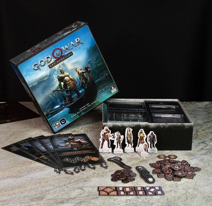 Pudełko i zawartość gry planszowej God of War