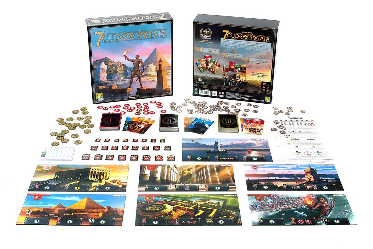 Plansze i zawartość z gry planszowej 7 cudów świata