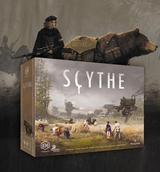 Grafika promocyjna gry planszowej Scythe miś Wojtek