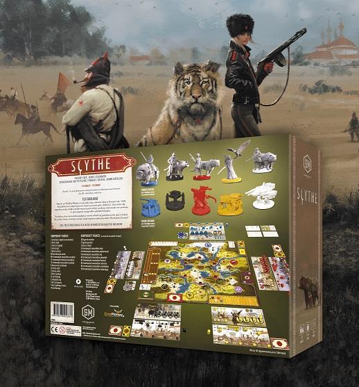 Pudełko i zawartość gry planszowej Scythe