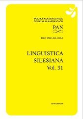 Linguistica Silesiana, vol. 31