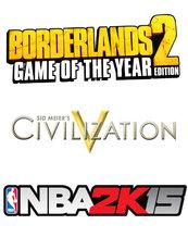 NBA 2K15/BORDERLANDS 2 GOTY/SID MEIERS CIVILIZATION V (PC) DIGITAL