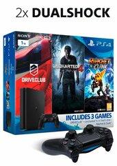 Konsola PlayStation 4 1TB Slim + 2x joypad + 3 gry + film