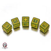 Komplet Kości - Orkowy, Bitewny - Zielono-żółty