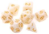Komplet kości REBEL RPG - Perłowe - Białe