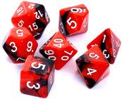 Komplet kości REBEL RPG - Dwukolorowe - Czerwono-czarne