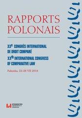 Rapports Polonais. XXe Congrès International de Droit Comparé. XXth International Congress of Comparative Law. Fukuoka, 22–2