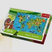 Puzzle edukacyjne 100 Mapa świata