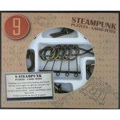 Łamigłówki metalowe 9 sztuk Steampunk zestaw brązowy