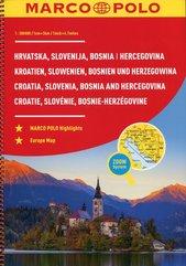 Chorwacja Słowenia Bośnia i Hercegowina Atlas samochodowy 1:300 000 spirala Marco Polo