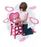Drewniane krzesło z oparciem w kształcie serca dla lalek