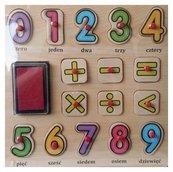 Stempelki - układanka z pinezkami Cyfry