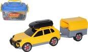 Samochód terenowy z przyczepą w pudełku
