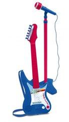 Gitara elektroniczna z amplitunerem i mikrofonem na statywie