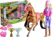 Zestaw Lalka i koń w sStajni + akcesoria brązowy