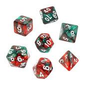Komplet kości REBEL RPG - Dwukolorowe - Czerwono-zielone