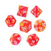 Komplet kości REBEL RPG - Dwukolorowe - Czerwono-żółte