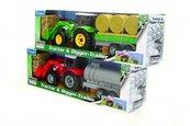 Teama traktor-spychacz z przyczepą czerwony 1:32