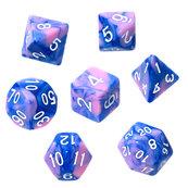 Komplet kości REBEL RPG - Dwukolorowe - Niebiesko-różowe