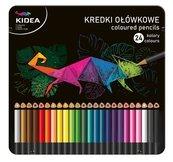 Kredki trójkątne w met. pudełku 24 kolory KIDEA