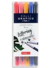 Pisaki do kaligrafi dwustronne ścięte 5 kolorów