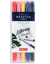 Pisaki do kaligrafi dwustronne pędzelek 5 kolorów