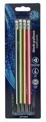 Ołówek grafitowy czarne drewno z gumką 4szt ASTRA