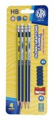 Ołówek grafitowy z gumką 4szt + temp.+ nakł. ASTRA