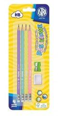 Ołówek pastel HB z miarką 4szt +gumka+ temp. ASTRA