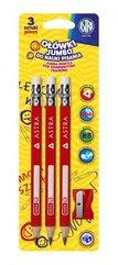 Ołówek do nauki pisania 3szt + temperówka ASTRA