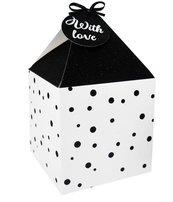 Pudełko na prezenty 11x11 biało-czarne kropki 4szt