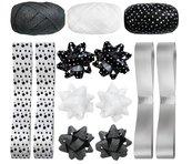 Zestaw do pakowania z rozetkami biało-czarny