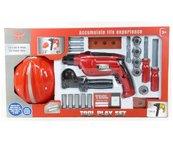 Zestaw narzędzi z kaskiem i wyrzynarką na baterie