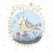 Karnet kwadrat z kopertą Urodziny Ptak