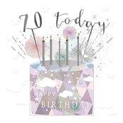 Karnet kwadrat mały z kopertą Urodziny 70 świeczki