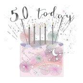 Karnet kwadrat mały z kopertą Urodziny 50 świeczki
