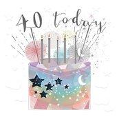 Karnet kwadrat mały z kopertą Urodziny 40 świeczki