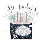 Karnet kwadrat mały z kopertą Urodziny 30 świeczki