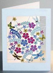 Karnet PM914 wycinany + koperta Ważki i kwiaty