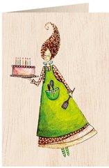 Karnet drewniany C6 + koperta Tort ze świeczkami